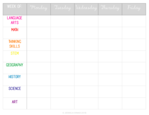 Homeschool Weekly Subjects